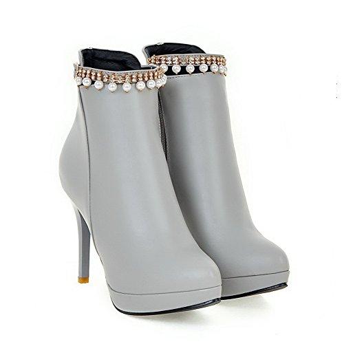 AllhqFashion Damen Reißverschluss Hoher Absatz Rein Niedrig-Spitze Stiefel mit Perlenschnur Grau