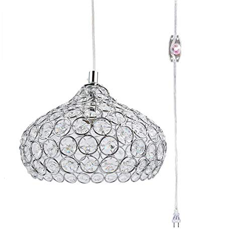 Kiven Plug-in Swag Pendant Light Silver Crystal Chandelier with 14.76′ Cord and Dimmer Switch in Line Review