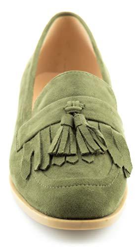 su Women's Loafer Accents Flat Shoes Tassel Fringe Flats Green KIKI Comfort CALICO 1pPgZq1