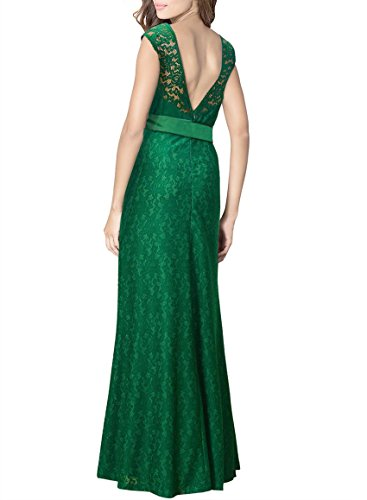 Womens Green Long Sleeveless Floral Lace V-neck Evening Gown Party Dress(L)