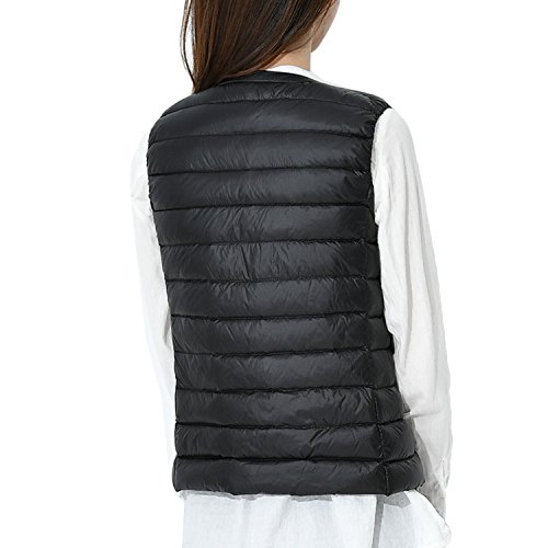 Crewneck Coat Black Wind Bmeigo Down Vest Womens Waistcoat Jacket n5a4z