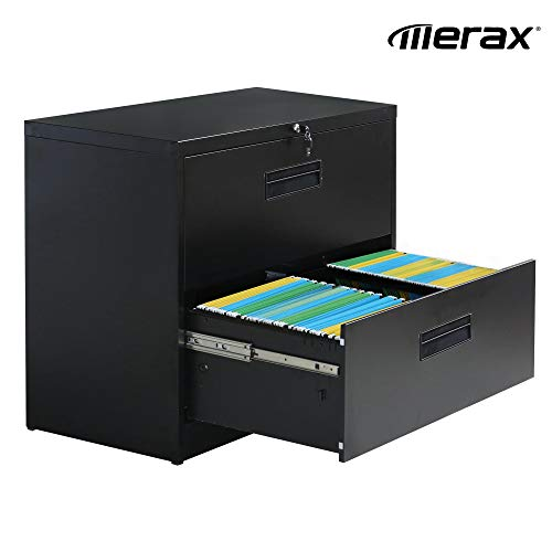 Merax lateral File Cabinet 2 Drawer Locking Filing Cabinet 3 Drawers Metal Organizer with Heavy Duty Hanging File Frame for Legal & Business Files Office Home Storage