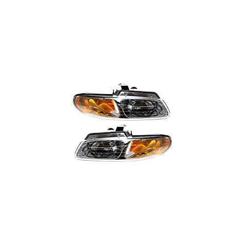 (Headlight Set of 2 for 2000 Chrysler Grand Voyager Right and Left Side Assembly)