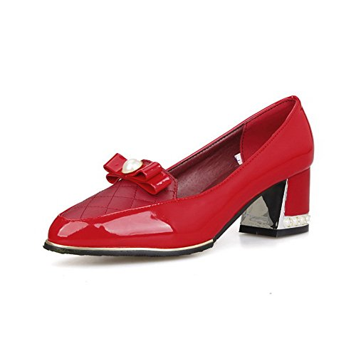 Odomolor Women's Soft Material Pull on Pointed Closed Toe Kitten-Heels Solid Pumps-Shoes Red OOLURtOTqo