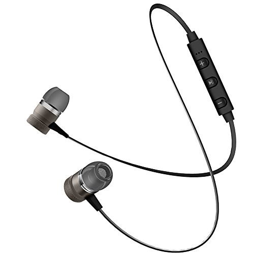 Bluetooth Headphones, Mrcicoo M1 Wireless Metal Magnetic Sports Earphones, Bluetooth V4.1 Exercise Headset, Noise Cancelling In-Ear Earbuds with APT-X HD Mic for Running, Workout and Gym - Noise Metal