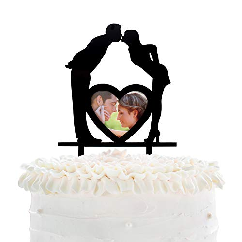 Kissing Bride Groom - Wedding Cake Topper - Anniversary Honeymoon Photo Frame Cake Décor - Couple Engagement Bridal Shower Party Supplies - Silhouette Groom Kissing Bride Decoration