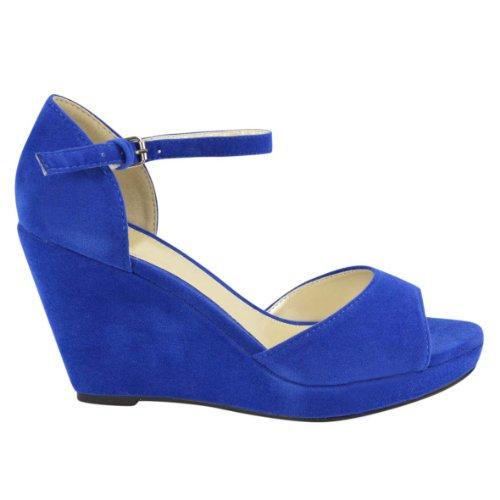 Moda Donna Sete Peep Toe Zeppe Bassa Metà Alta Piattaforma Tacco Estate Cinturino Alla Caviglia Scarpe Strappy Taglia Blu Royal Faux Suede