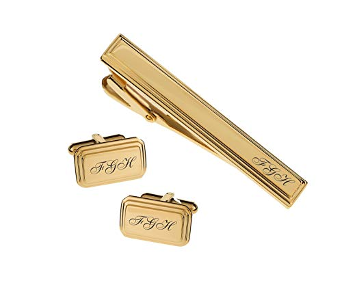 (Personalized Gold Rectangle Beveled Edge Cufflinks & Tie Clip Bar Set Engraved Free Cuff Links )