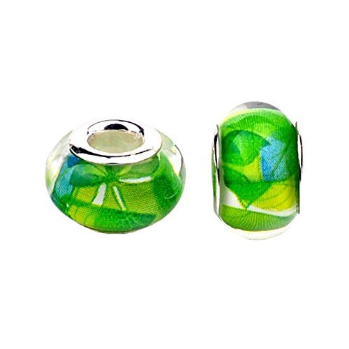 Bling Stars Green Leaf Murano Glass Crystal Fascinating Facet Charms Beads Spacer Solid Core Charm for Snake Chain Bracelets