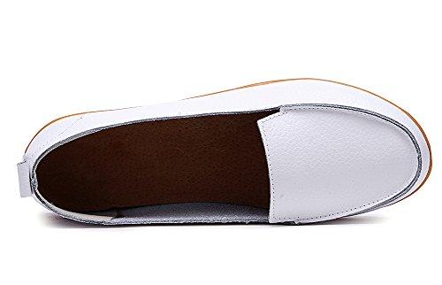 Odema Damen Rund-Toe Mokassins Litchi Streifen Flatt Moccasions Schuhe Weib