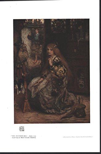 Girl Waiting at Loom Stain Glass by Matthew Maris 1917 antique color art - Mari Glasses