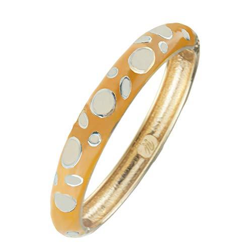 UJOY Womens Jewelry Colorful Cloisonne Bracelets Beautiful Enameled Hinge Cuff Bangles Gifts 55A44 White-Orange