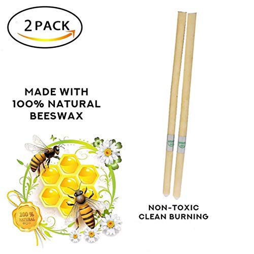 OBDKCAN Beeswax Original Ear Candle, Natural Herbal Aromatherapy Hollow Earwax Candles Set - Candling Physical Therapy Essence Oil - 100% Non-Toxic Wax Removal Ear Care Kit (2)