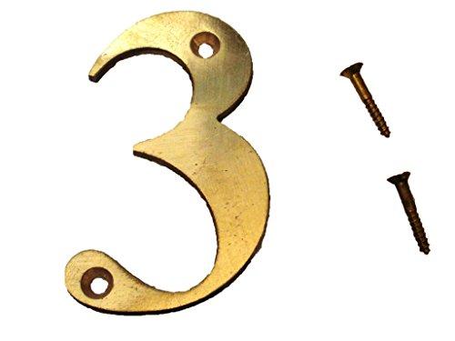 """3– 3"""" Brass NUMBERS - Times ROMAN - HOUSE DOOR"""