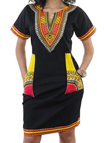(shekiss Women's Bohemian Bodycon Dashiki African Vintage Print V-Neck Club Midi Dress Black/Yellow)