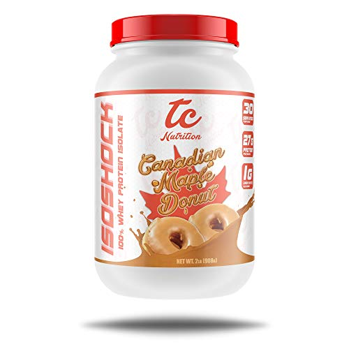 IsoShock Whey Protein Isolate (2lbs - 30 Servings) - Premium WPI90 - Low Carb/Fat Supplement Powder (Canadian Maple Donut)