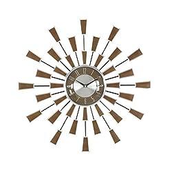 Deco 79 98433 Metal Wall Clock, 22, Brown/Silver/Black