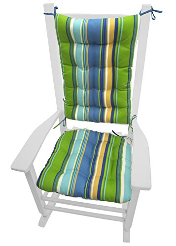 Porch Rocker Cushions - Westport Cabana Stripe Blue - Indoor / Outdoor: Fade Resistant, Mildew Resistant - Latex Foam Fill - Reversible