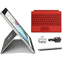 Microsoft Surface 3 Bundle - 5 Items: 64GB Wi-Fi Only Quard-Core 10.8-Inch Tablet, Original Bright Red Keyboard, Surface Pen, Silicon Power 32GB Elite microSDHC Card and 2-in-1 Travel Charger