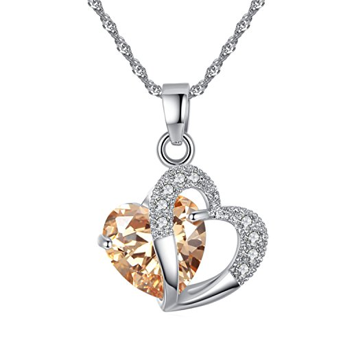 Champagne Cubic Zirconia Heart Pendant - YAZILIND Jewelry Silver Plated Cubic Zirconia Champagne Heart Pendant Necklace Chain Beautiful for Women