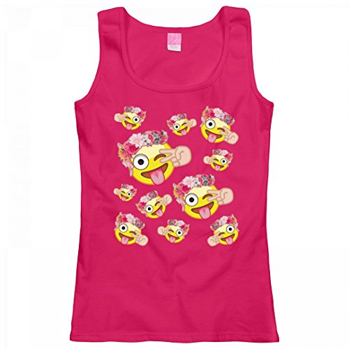 Customized Girl Emoji Trending Style: Ladies LAT Relaxed Fit Scoopneck Tank (Peace Sign Womens Tank Top)