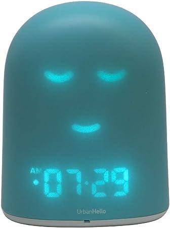 REMI Le Meilleur Réveil Enfant Jour Nuit éducatif pour apprendre à dormir plus Suivi du sommeil Babyphone Veilleuse Enceinte musique Bleu