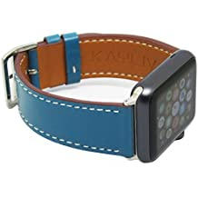 KAYLIV Leather Apple Watch Band 42 mm, Premium Replacement Watchbands To Get In Style, Fits Series 1, 2, Edition. Luxury iWatch Strap for Women, Men, Girls and Boys Brown, Red, Blue, Teal and Black