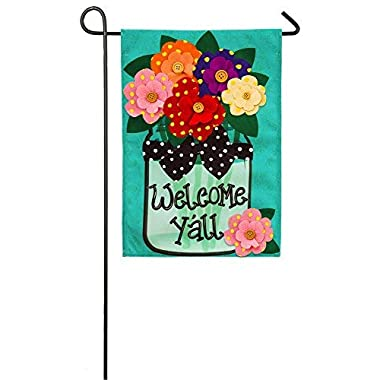 """Evergreen Flag Welcome Y'All Polka Dot Flowers Double-Sided Burlap Garden Flag - 12.5""""W x 18  H"""