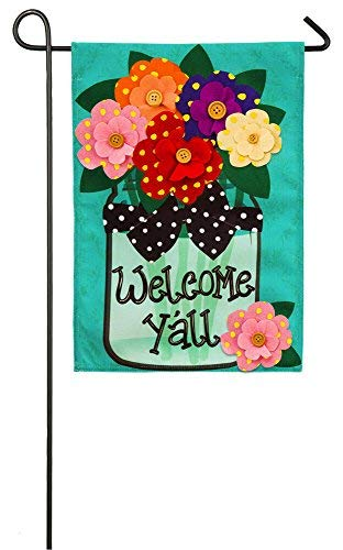 "(Evergreen Flag Welcome Y'All Polka Dot Flowers Double-Sided Burlap Garden Flag - 12.5""W x 18"
