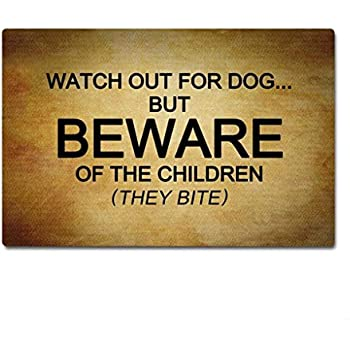 J&L House Be Aware of Children Funny Non Slip Door Mat Outdoor Rug Entrance Way Indoor Mats Rubber Back Doormats Low Profile Washable Carpet Home Decor,18 x 30 Inch