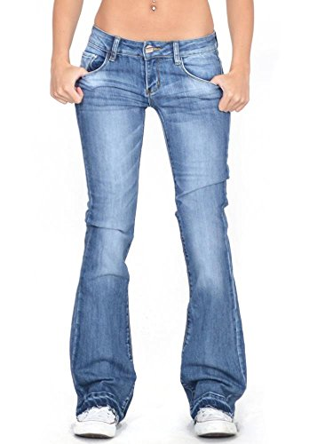 Cindy.H Women's Faded Flared Hipster Bootcut Stretch Jeans with Frayed Leg Ends - Blue (US 8 / UK10)