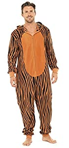 Men's Tiger Thermal Fleece Hooded Onesie