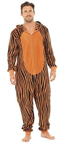 Men's Tiger Thermal Fleece Hooded Onesie (L/XL) Orange