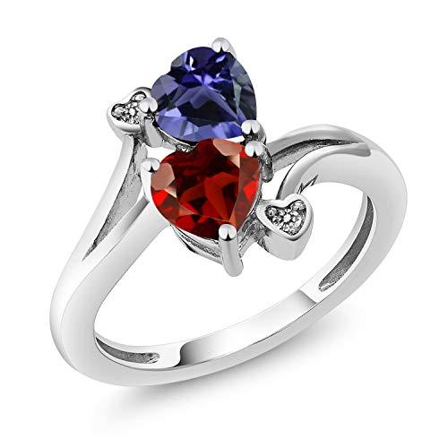 Gem Stone King 1.51 Ct Heart Shape Red Garnet Blue Iolite 10K White Gold Diamond Ring (Size 7) ()