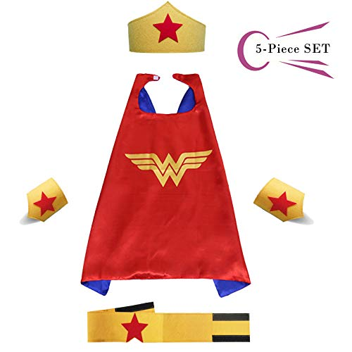 Superhero Dress Capes Set for Kids - Child DIY Superhero Themed Birthday Halloween Party Dress up 5-Pack Set (Wonder Woman) - Costume Wonder Woman Diy