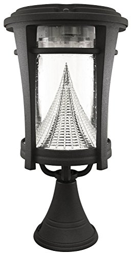 (Gama Sonic Aurora Solar Outdoor Light GS-124FPW - Pole/Pier/Wall Mount Kit - Black Finish)