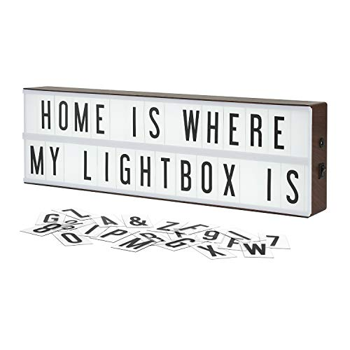 My Cinema Lightbox The Vintage Edition LED Marquee Light Box with 140 Letters, Numbers, and Symbols to Make Your own Sign, Extra Long Length with a Faux Wood Finish