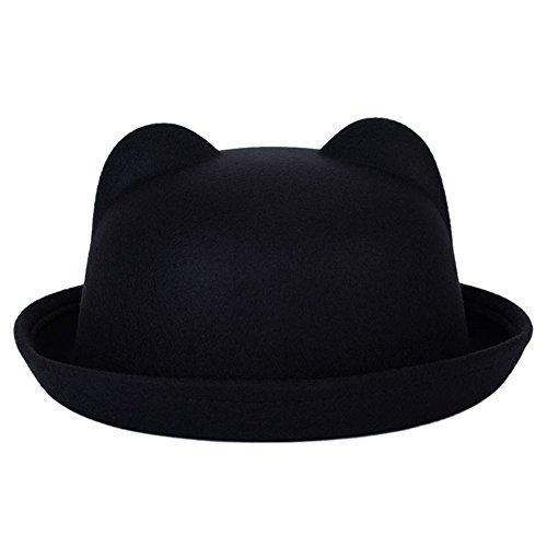 ETOSELL Women Wool Horn Parent-Child Bowler Fedora Hats Derby Cat Ear Cap