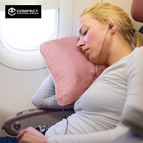 Compact Travel Pillow Made with Shredded Memory Foam and Super Soft Fleece Fabric for Ultimate Comfort in Travel. Patented Design Rolls and Compacts Small for Travel. (Pink)