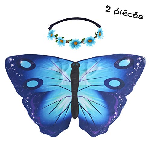 Flying Childhood Fairy Butterfly Wings with Flower Headband