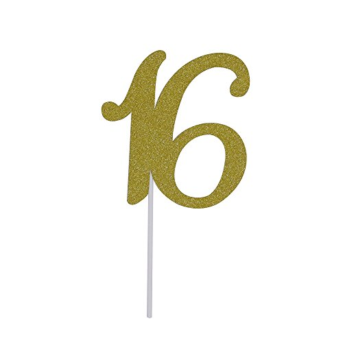 Elehere Sweet 16 Cake Topper, Monogram Number Sixteen Keepsake, 16th Birthday Party Supplies Decoration Ideas Gold (16th Birthday Cake Ideas)