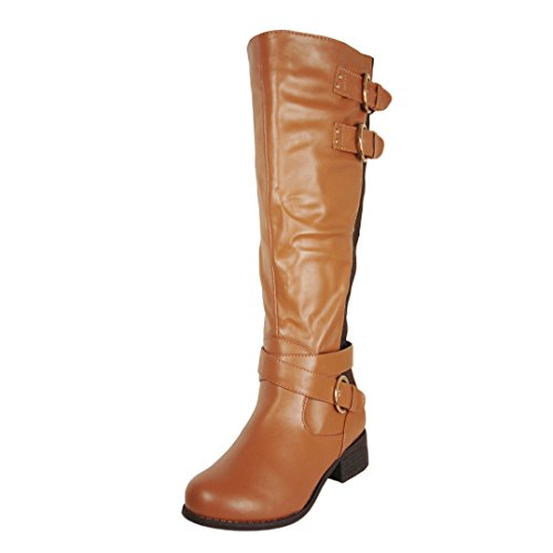 (Wild Diva Lounge Women's Madrid32 Cognac Leatherette Elastic Fashion Buckle Knee High Boot 8.5 M US)