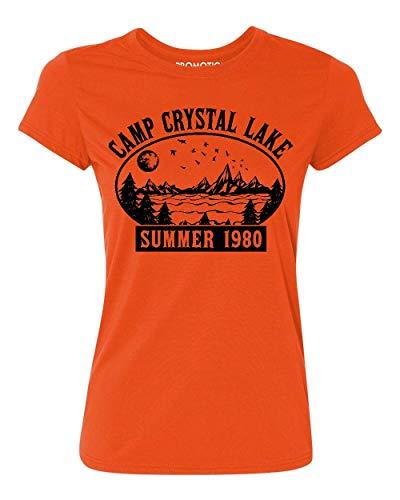 Promotion & Beyond Camp Crystal Lake Halloween Parody Costume Women's T-Shirt, XL, Orange