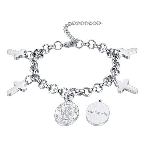 FaithHeart Custom Engraving Saint Christopher Bracelet Stainless Steel Catholic Patron Saint Medal Pendant Jewelry, Best Blessings Gift Customize Available (Send Gift Box) ()