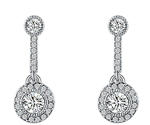 """AMDXD Bijoux Plaqué Or Femme Boucles D'oreilles Blanc Rond Cubic Zirconia Symbole """"!"""" 2.5*1cm"""
