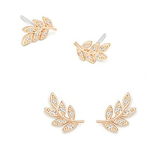 18K Gold & S925 Silver Plated Cubic zirconia Leaf Women Stud Post Earrings,2 Color (Gold)