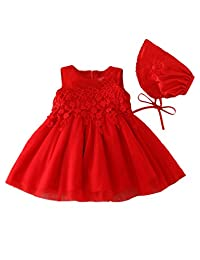 Happy Cherry Little Girls Christening Gown with Bonnet Floral Embroidered Wedding Tulle Dress
