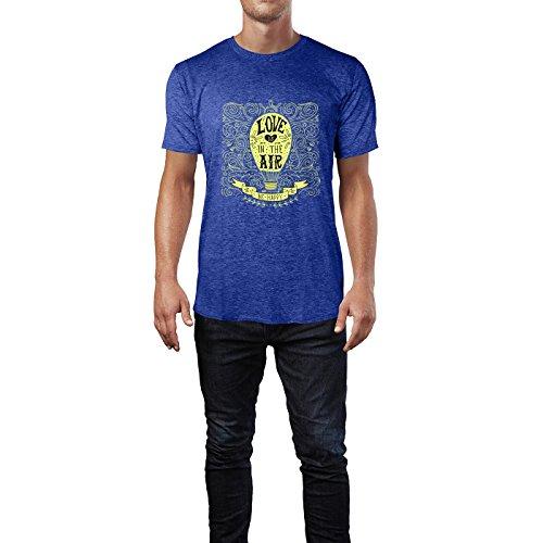 SINUS ART® Heißluftballon Zeichnung Love Is In The Air Herren T-Shirts in Vintage Blau Cooles Fun Shirt mit tollen Aufdruck