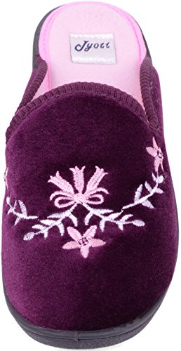 Ladies / Womens Velour Style Slippers / Mules / Shoes with Flower Design Heather KSu3ky8