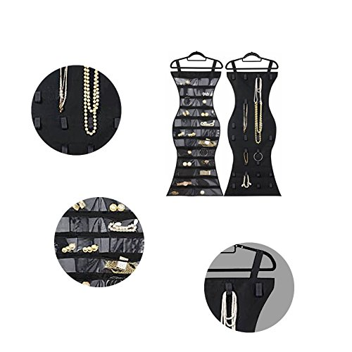 Hanging Jewelry Organizer The little mermaid Closet Storage Dual Sides Hanging Jewelry Non-woven(Mermaid black+Add a black) by RARITYUS (Image #1)
